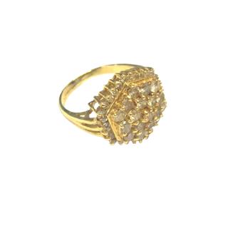 14K Gold & Diamond Hexagonal Ring