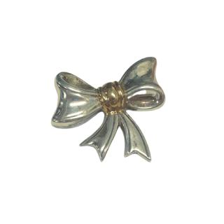 Sterling Silver & 14K Gold Italian Bow Brooch