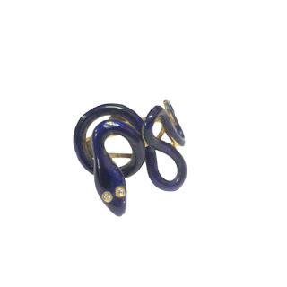 14K Gold, Diamond & Enamel Snake Ring