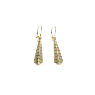 14K Gold & Brass Tri-Color Etched Earrings