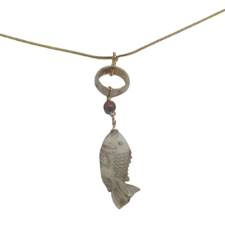 14K Gold and Stone Fish Pendant Necklace