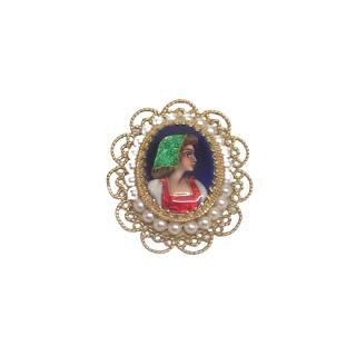 14K Gold, Pearl, and Enamel S. Gamliel Portrait Brooch/Pendant