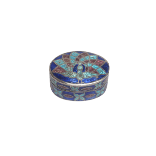 Sterling Silver and Enamel Peacock Pill Box