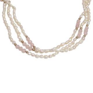 Pearl, 14K Gold, Rose Quartz Multi-Strand Necklace