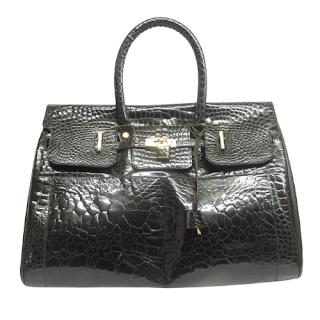 Vintage French Croc-Print Leather Handbag