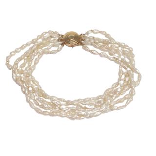 Pearl and 14K Gold Multi-Strand Bracelet