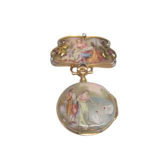 Patek Philippe 18K Gold, Diamond, Ruby, and Enamel Lapel Watch