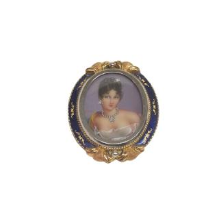 18K Gold Hand-Painted Miniature Portrait Brooch/Pendant