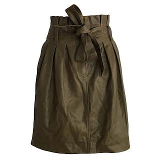 Frame  Leather Paper Bag Waist Skirt