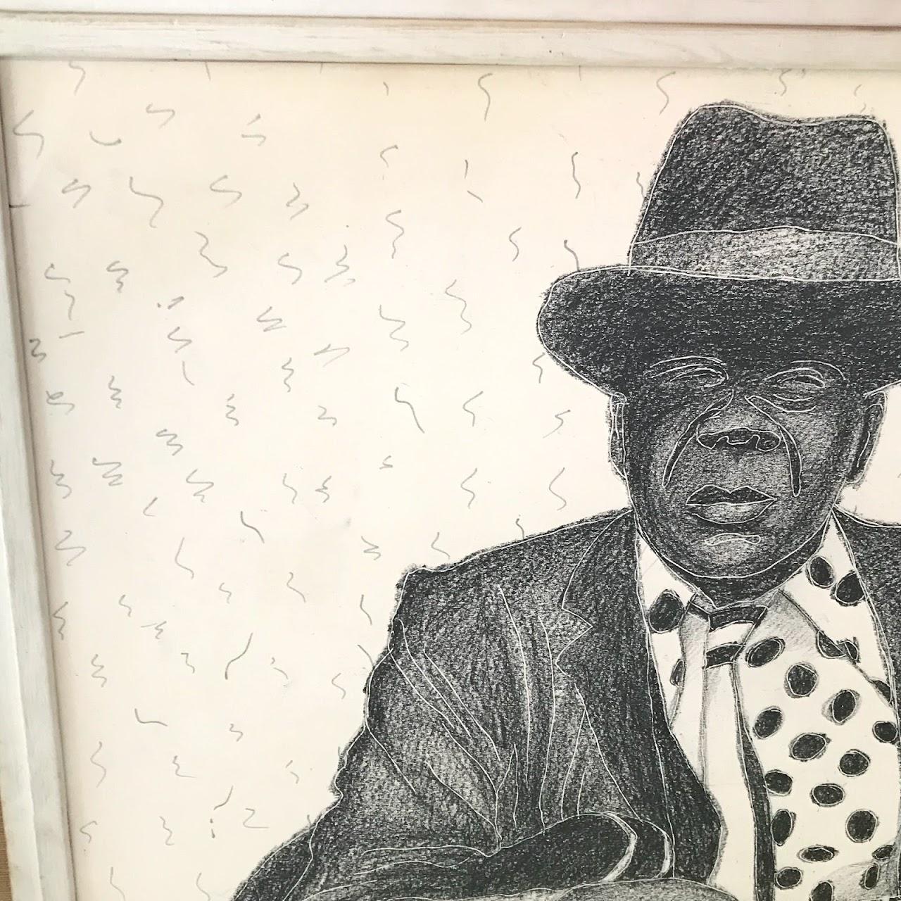 Takenaga Signed Mixed Media 'Blues' Portrait Drawing